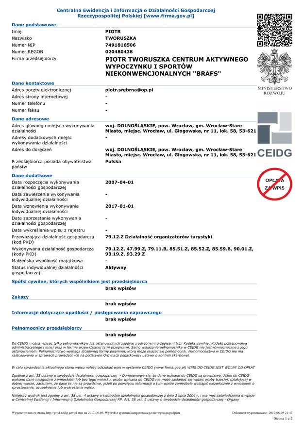 Certyfikat Ewidencji i Informacja o Działalności Gospodarczej